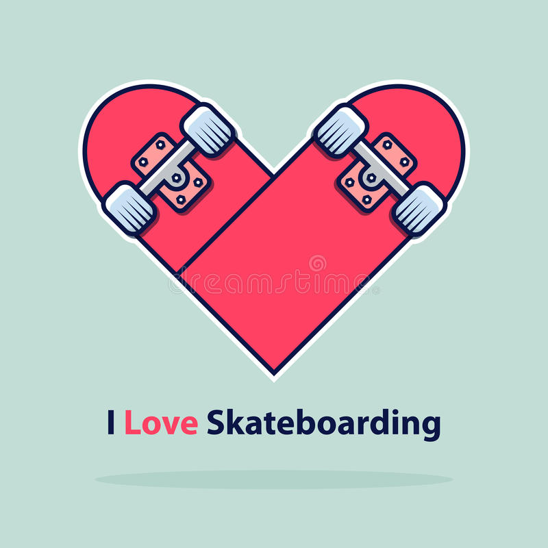 Heart icon in flat design. Love symbol. Valentine`s Day sign. Skateboarding logo isolated on blue background with shadow. Vector Illustration stock illustration