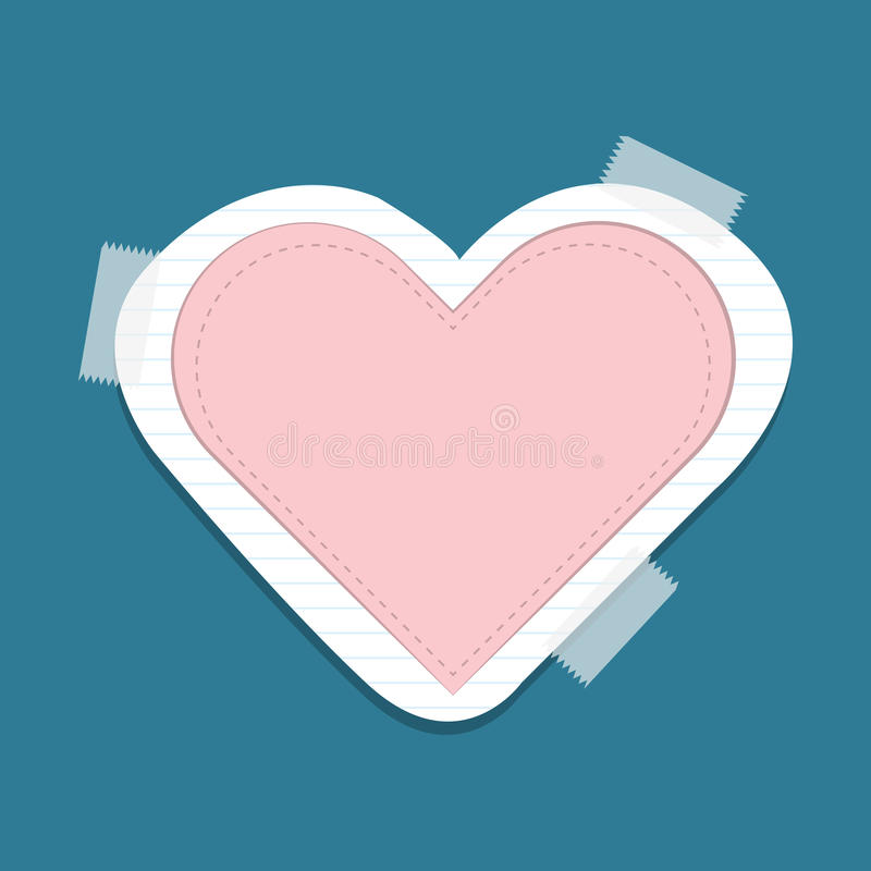 Heart icon in flat design on paper royalty free illustration