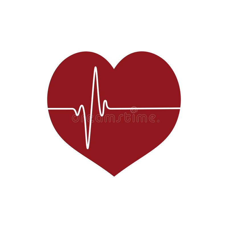 Heart icon with heartbeating line white background vector illustration