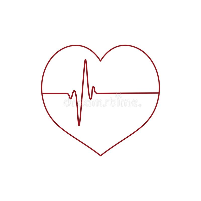 Heart icon with heartbeating line white background. Vector royalty free illustration