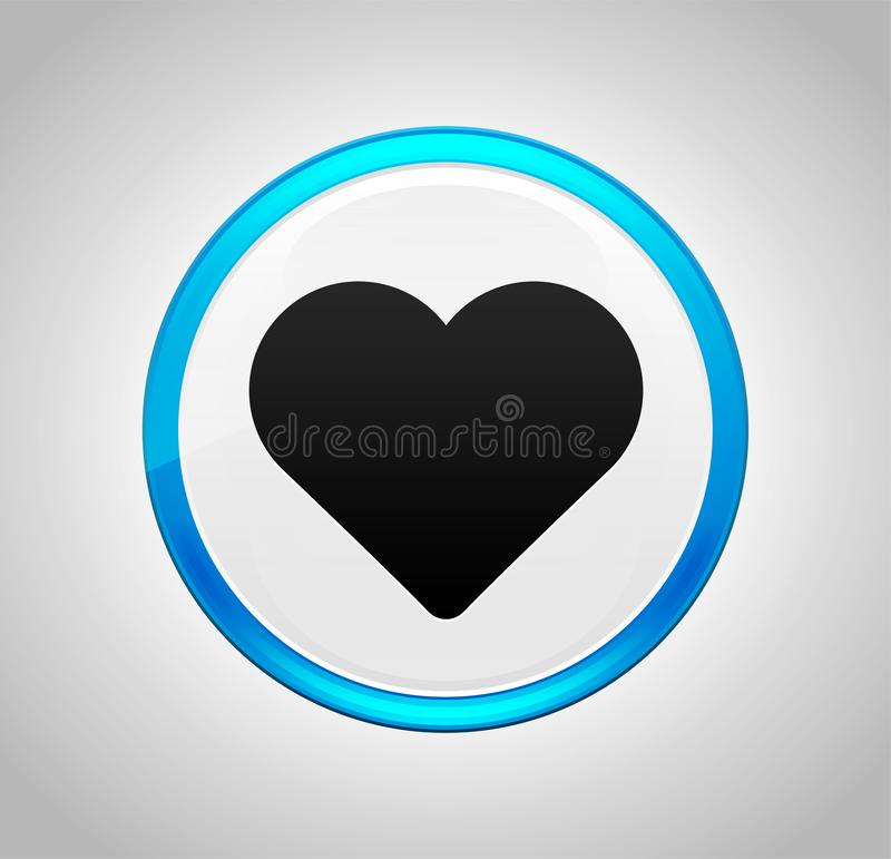 Heart icon round blue push button. Heart icon isolated on round blue push button vector illustration