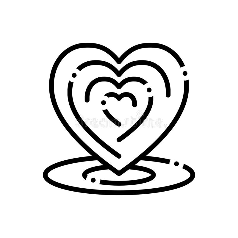 Black line icon for Heart, sport, love and romance vector illustration