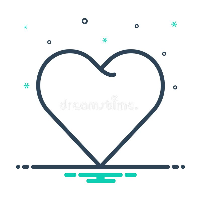 Mix icon for Heart, love and affection. Mix icon for Heart, impulse, friendship, emotion,  love and affection stock illustration
