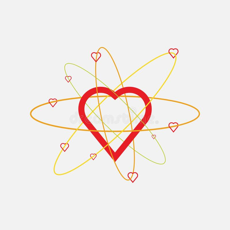Heart icon, love atoms, constituent emotion. Atomic heart structure, flat style, vector image stock illustration