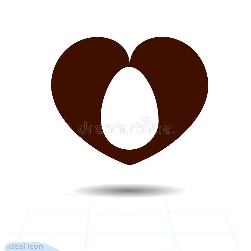 Heart icon, Love symbol. Easter egg in black heart. Valentines sign, emblem, Flat style for graphic and web design, logo. royalty free illustration
