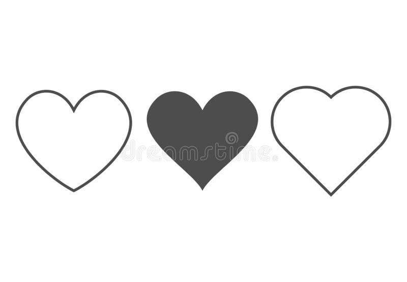 Heart icon. Outline love vector signs isolated on a background. Gray black graphic shape line art for romantic wedding  or. Valentine gift stock illustration