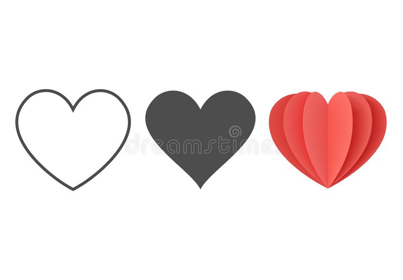 Heart icon. Outline love vector signs isolated on a background. Red, black and gray graphic shape line art for romantic wedding. Or valentine gift vector illustration