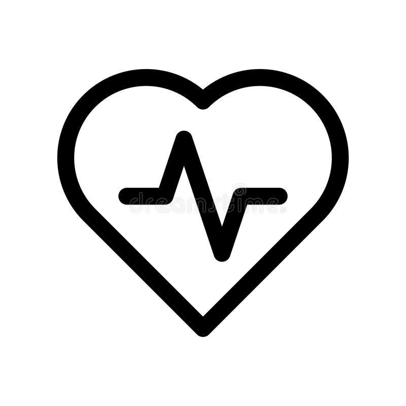 Heart icon with pulse line. Symbol of healthy lifestyle and love. Outline modern design element. Simple black flat. Vector sign with rounded corners royalty free illustration