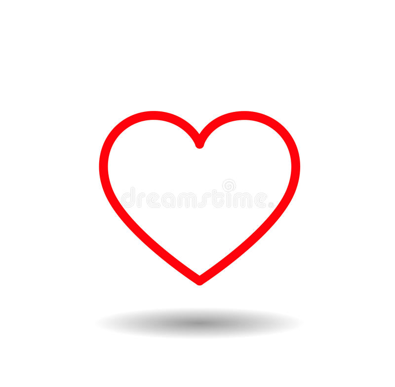 Heart icon. Red lined hearts with love royalty free stock photo