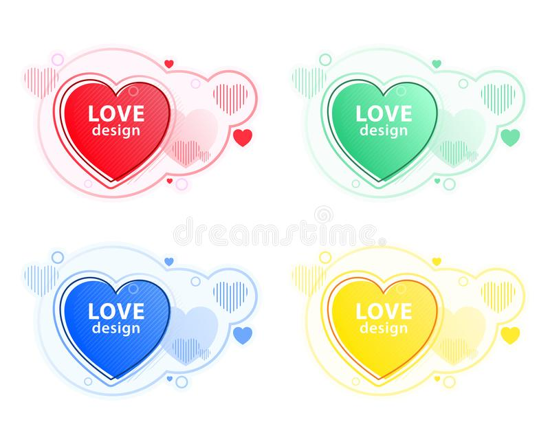 Heart icon set, love symbol. Abstract modern graphic elements. Dynamical colored forms and line. royalty free stock photography