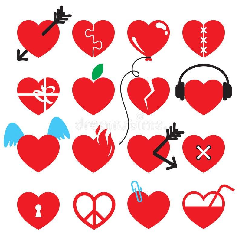 Creavive heart icon set. Heart vector icon set. Creative heart styles stock illustration