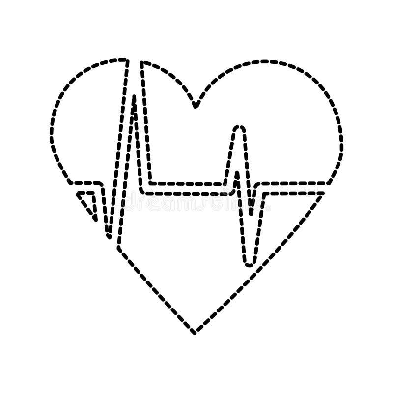 Heart icon with sign heartbeat romantic love. Vector illustration stock illustration