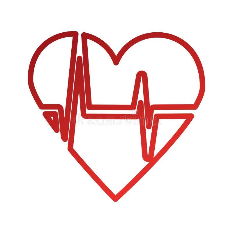 Heart icon with sign heartbeat romantic love. Vector illustration vector illustration