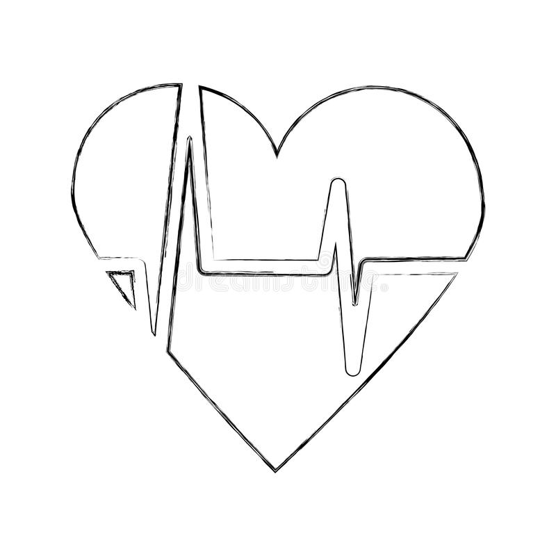 Heart icon with sign heartbeat romantic love. Vector illustration royalty free illustration