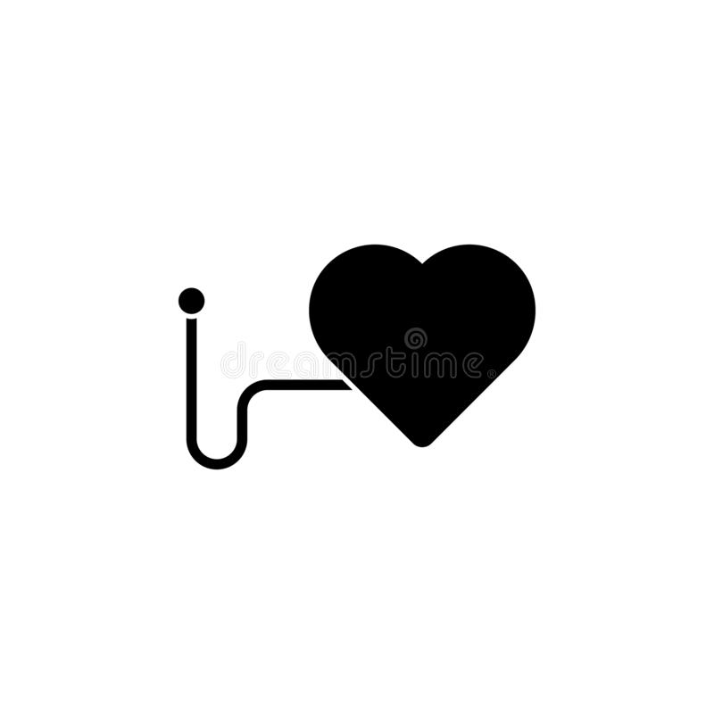 A heart icon. Simple glyph vector of universal set icons for UI and UX, website or mobile application. On white background royalty free illustration