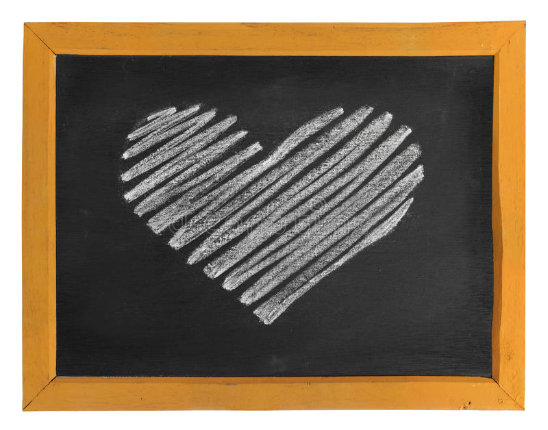 Heart icon symbol. Heart icon or symbol hand-drawn on wooden blackboard royalty free stock images