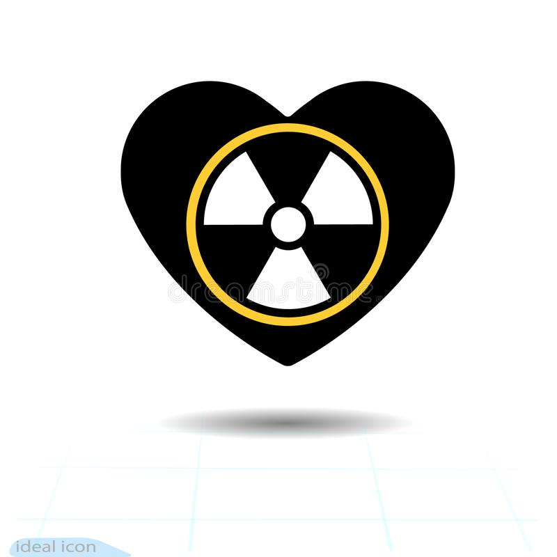 Heart icon. A symbol of love. Valentine s day with the sign of the Radioactive contamination symbol. Flat style for graphic and we vector illustration