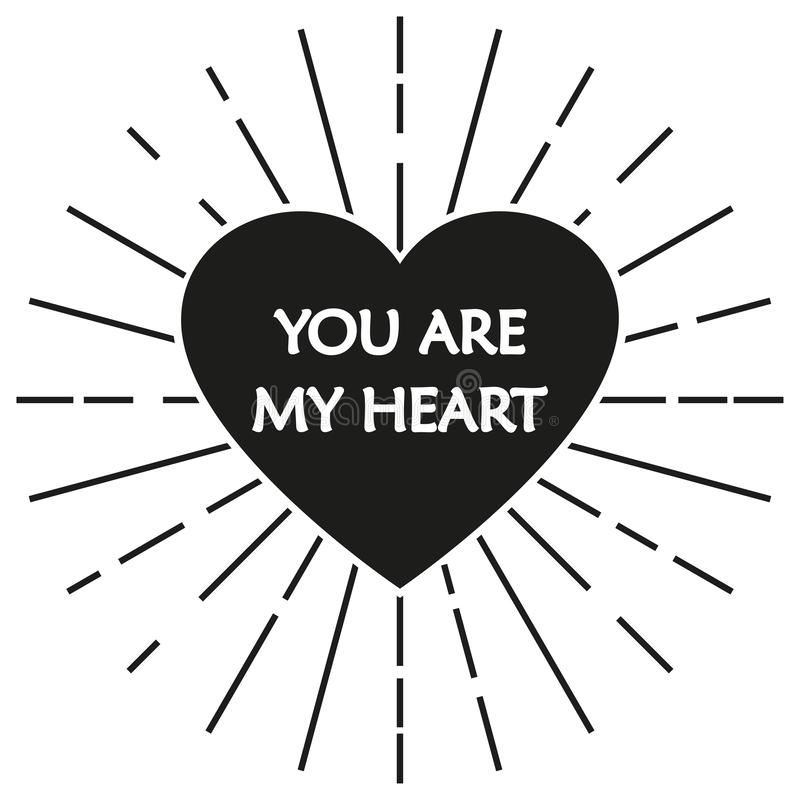 Heart icon. Heart symbol with words `You are my heart`. Vector illustration. Heart icon. Heart symbol with words `You are my heart`. Vector illustration royalty free illustration