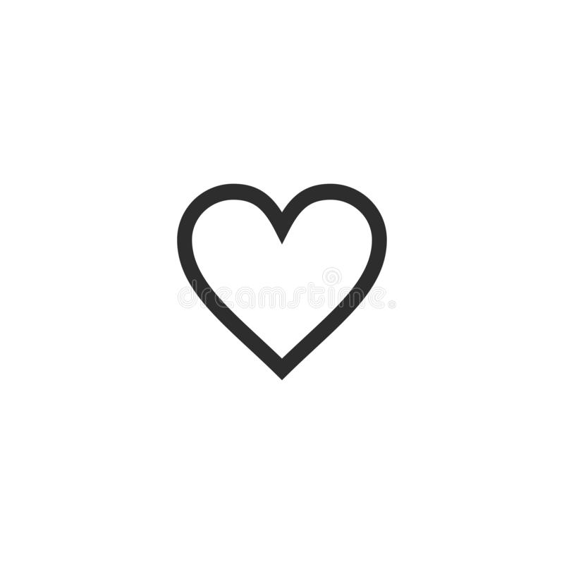 Heart icon vector illustration isolated on white background. Outline style. Love, symbol, valentine, shape, design, romance, graphic, wedding, romantic royalty free illustration