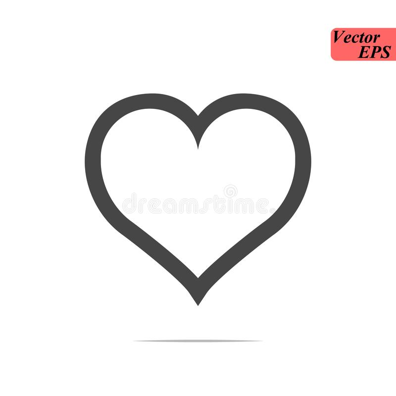 Heart Icon Vector. Love symbol. Valentine`s Day sign, emblem isolated on white background with shadow, Flat style for graphic and stock illustration
