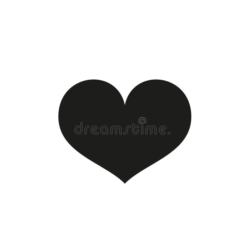 Heart Icon Vector. Perfect Love symbol. Valentine s Day sign, emblem isolated on white background. Flat style for graphic and web. Design, logo. EPS 10 black stock illustration