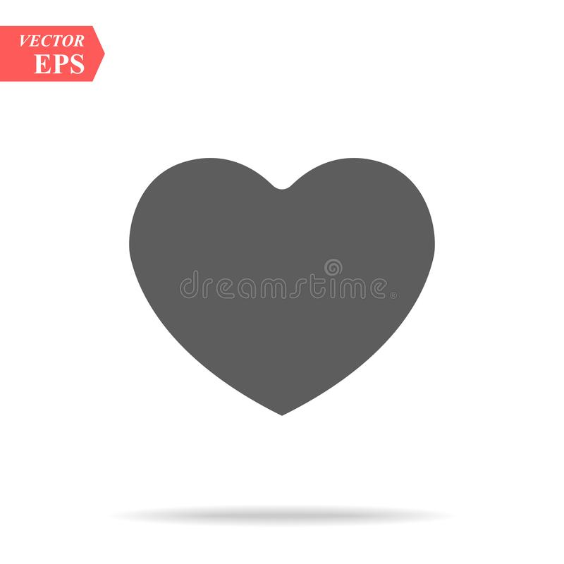 Heart Icon Vector. Perfect Love symbol. Valentine`s Day sign, emblem isolated on white background with shadow, Flat. Style for graphic and web design, logo. EPS vector illustration
