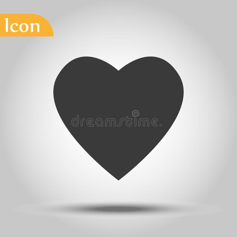 Heart Icon Vector. Perfect Love symbol. Valentine s Day sign, emblem isolated on white background with shadow, Flat style for royalty free illustration