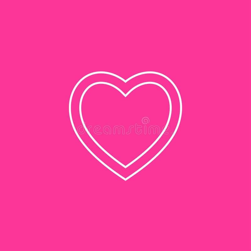 Heart Icon Vector. on Pink background.  stock illustration