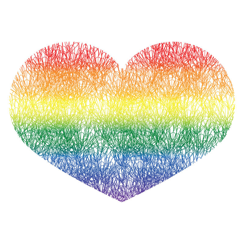 Heart icon on white background. Rainbow heart with hand. Drawn pattern with gradient. LGBT logo. Gay culture sign. Design element for banner, flyer, greeting royalty free illustration