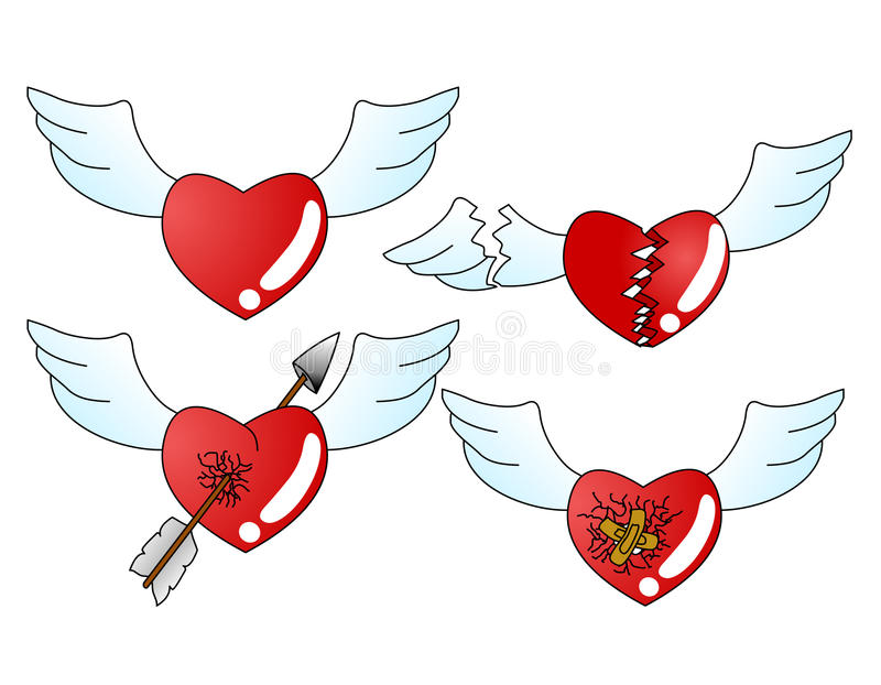 Heart icon. With wings. Fully scalable and editable, easy color change. Included file formats: EPS10. easy to edit layers and groups no meshes blends or stock illustration