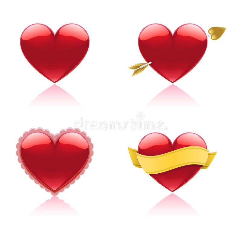Heart Icons. A set of four glossy glass heart icons royalty free illustration