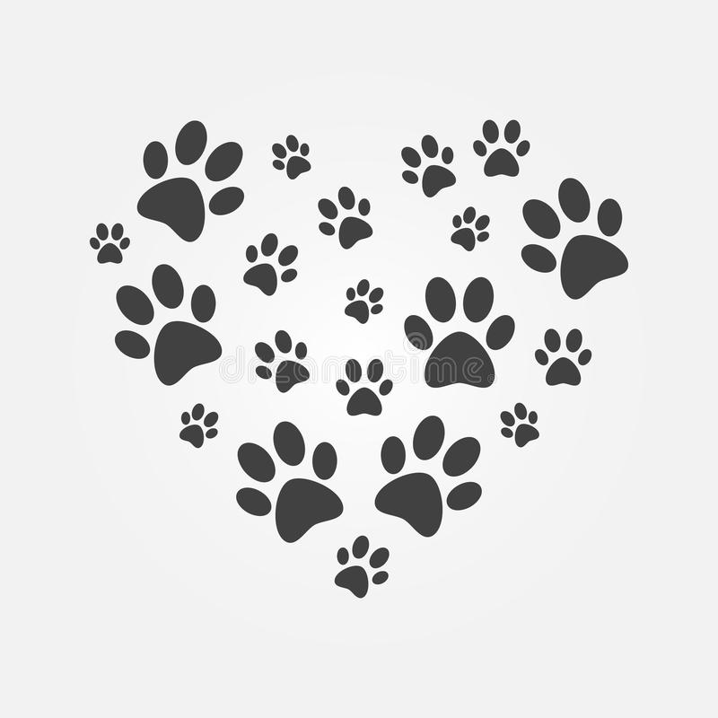 Heart with icons of dog paw prints vector illustration royalty free illustration