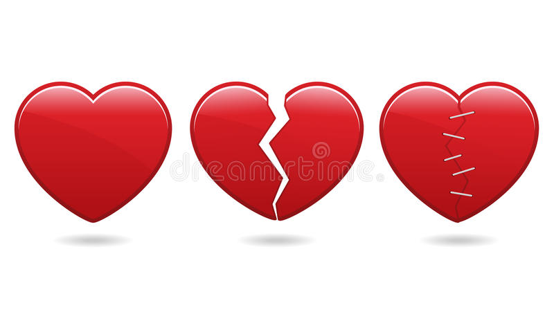 Heart Icons EPS. A set of three heart icons, whole, broken and healed. Available in vector EPS format vector illustration