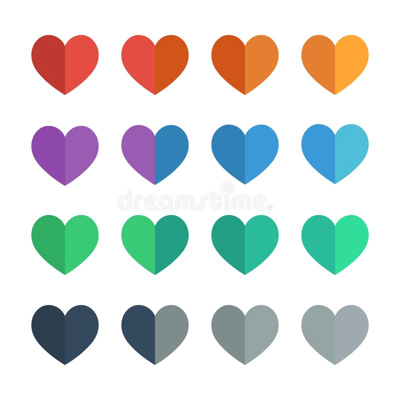 Heart icons in flat UI colors vector illustration set stock illustration