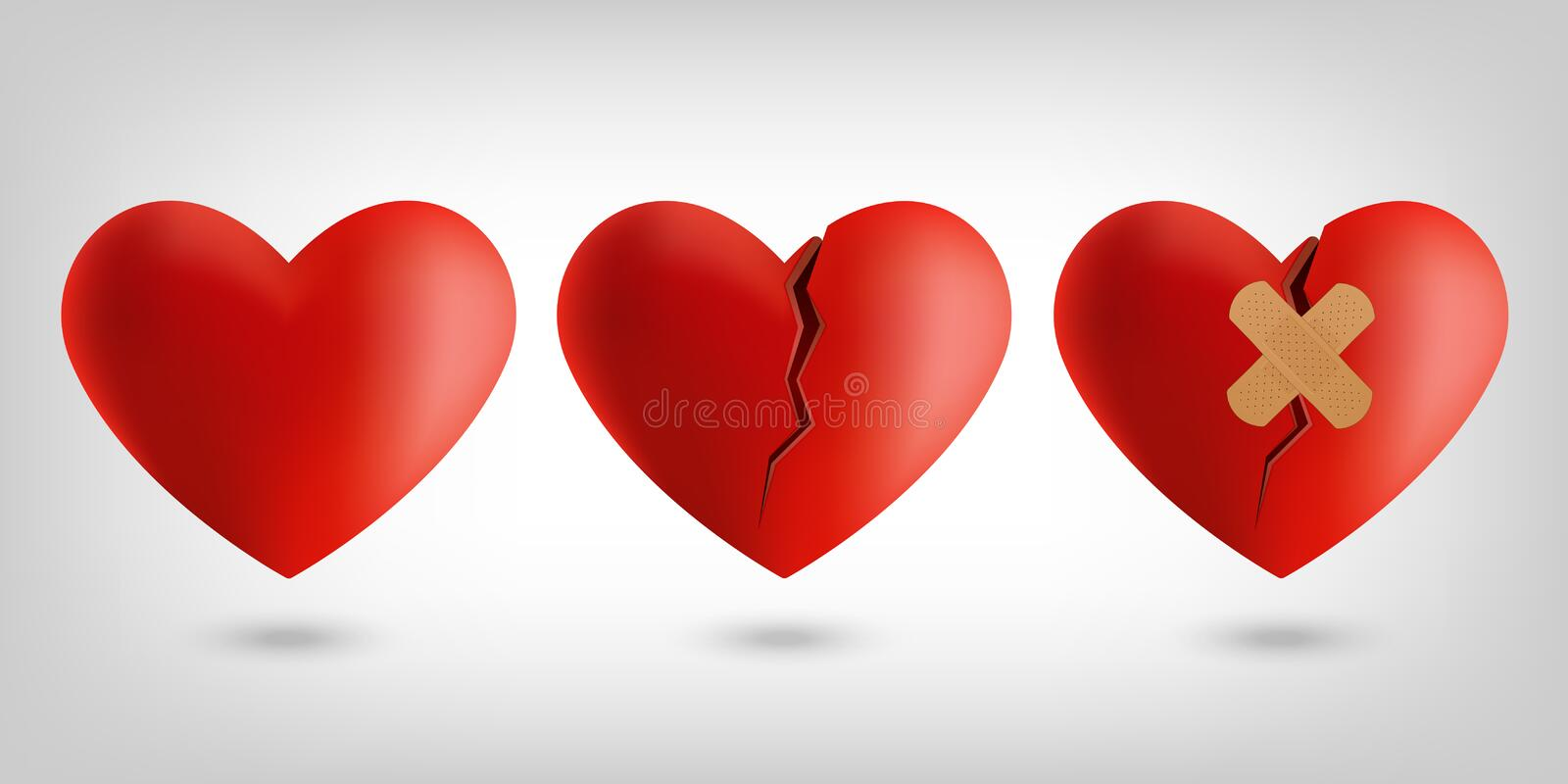 Heart icons. Illustration of healthy , broken and healing heart symbols vector illustration