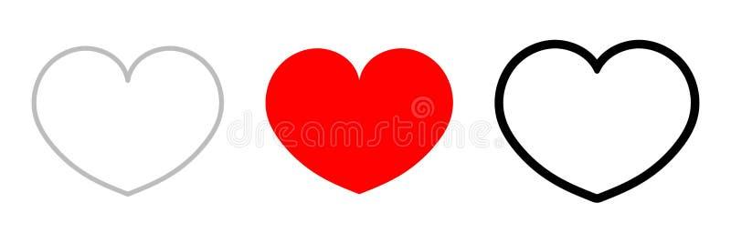 Heart icons, love concept isolated on white background. Social media. Vector illustration stock illustration