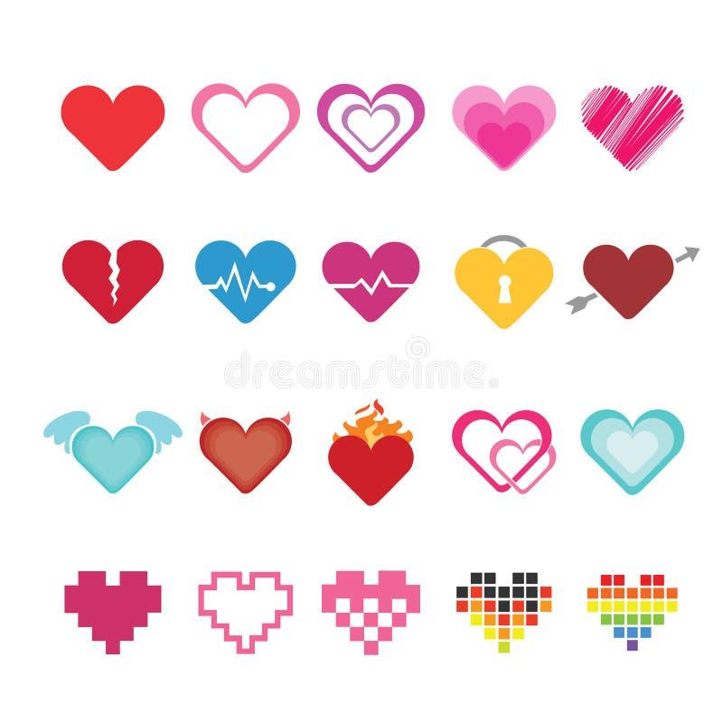 Heart icons set. royalty free illustration