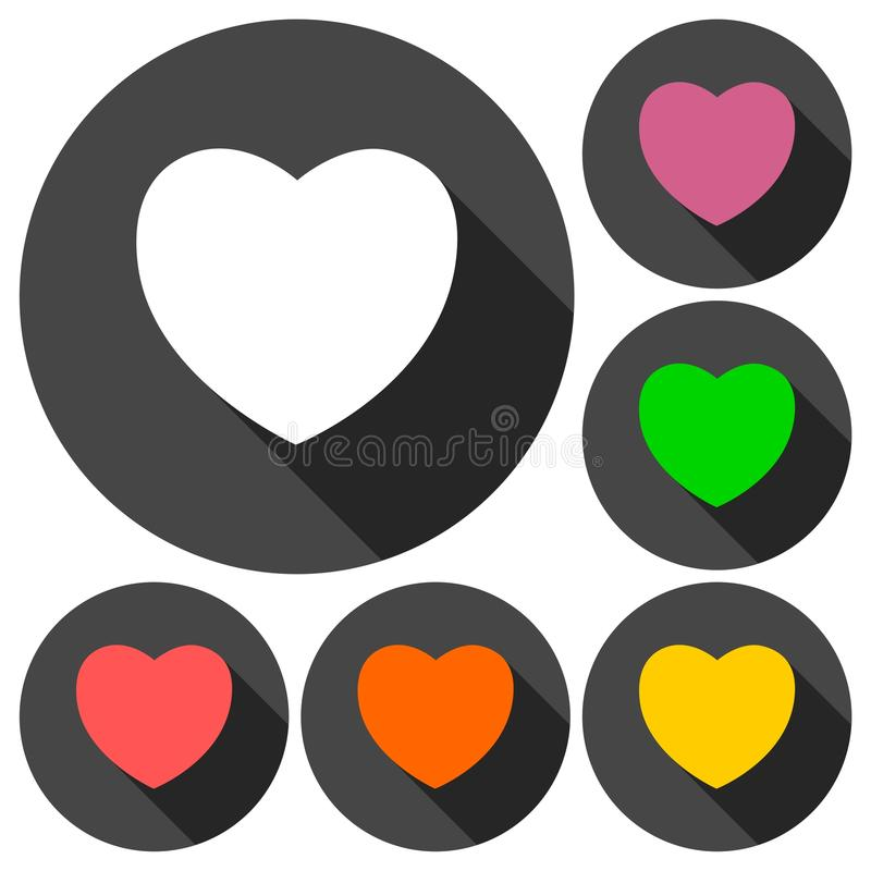 Heart icons set with long shadow royalty free illustration