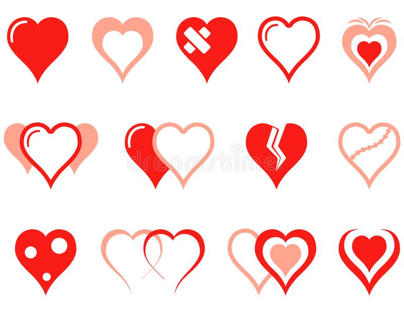 Heart icons set. For medical industry or romantic relations of people hearts concept symbols royalty free illustration
