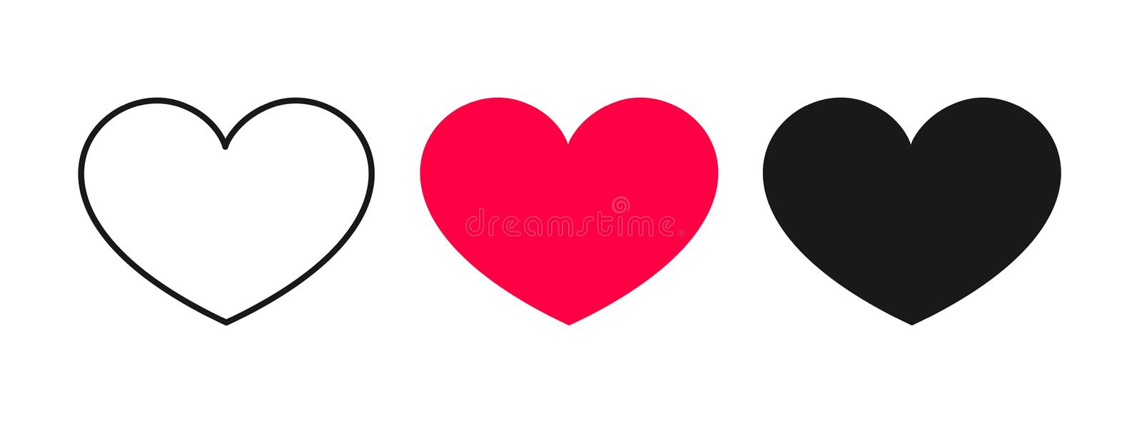 Heart icons, signs isolated on white background. royalty free illustration