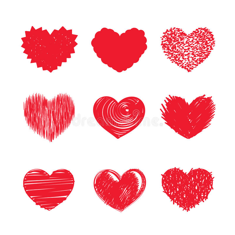 Heart icons. Vector hearts set. Different versions of red hearts royalty free illustration