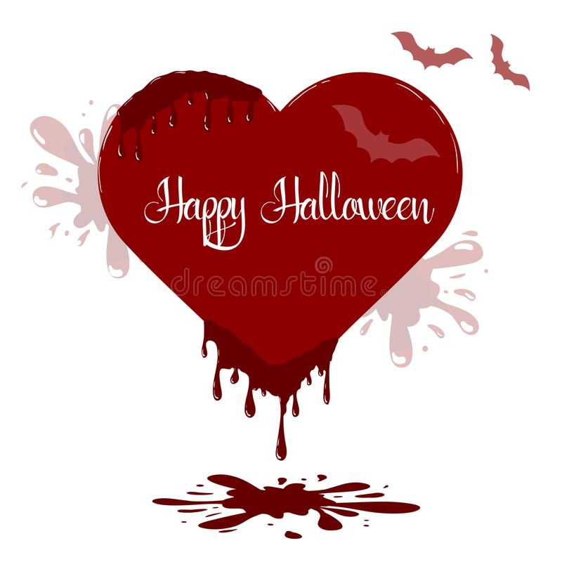 Heart illustration with dripping blood. Template of Happy Halloween card. stock illustration
