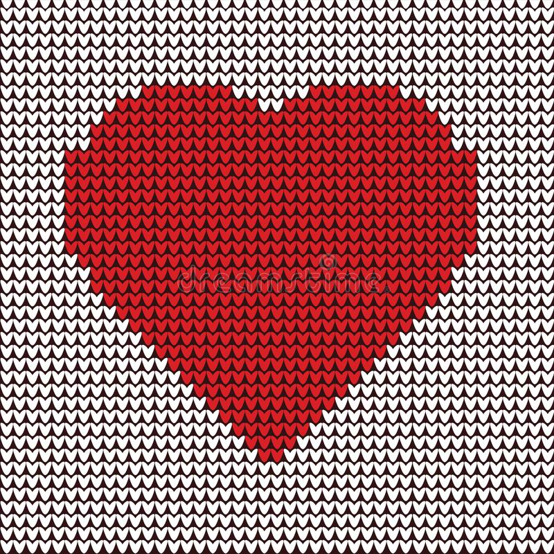 Heart illustration embroidery on fabric pattern - Vector royalty free illustration