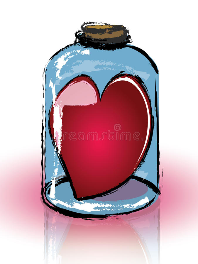 Heart imprisoned in a jar vector illustration