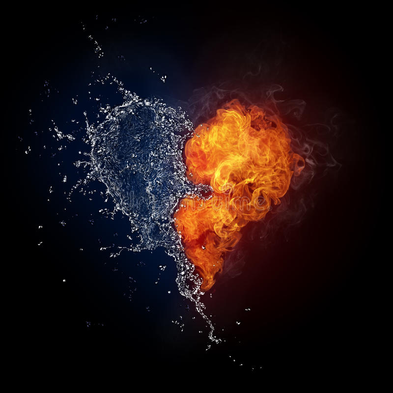 Free Heart In Fire And Water Royalty Free Stock Image - 16413056