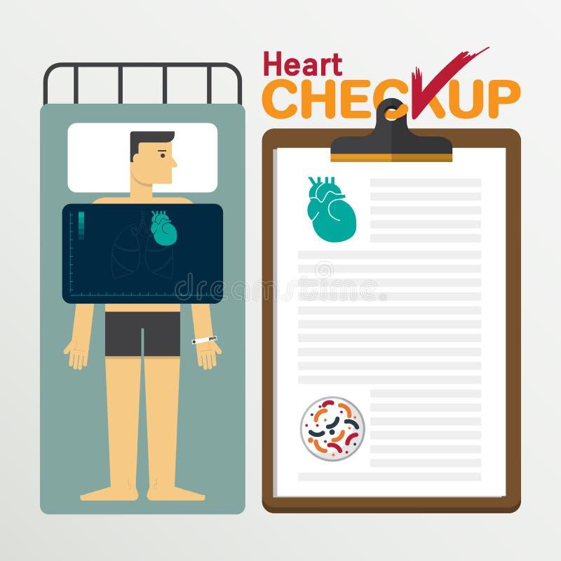 Heart infochart in flat design. Checkup clipboard. Vector Illustration royalty free illustration