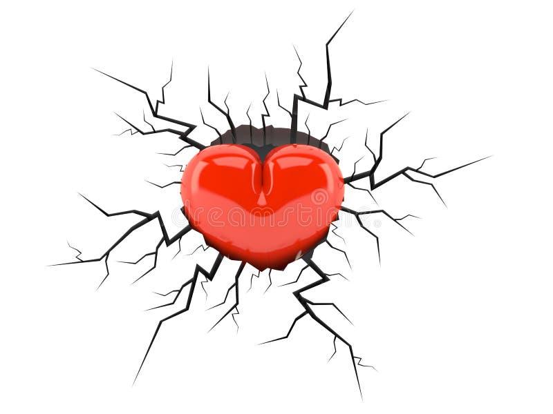 Heart inside cracked hole stock illustration