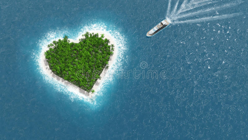 Heart island. A luxury boat is sailing to the island. Love concept vector illustration