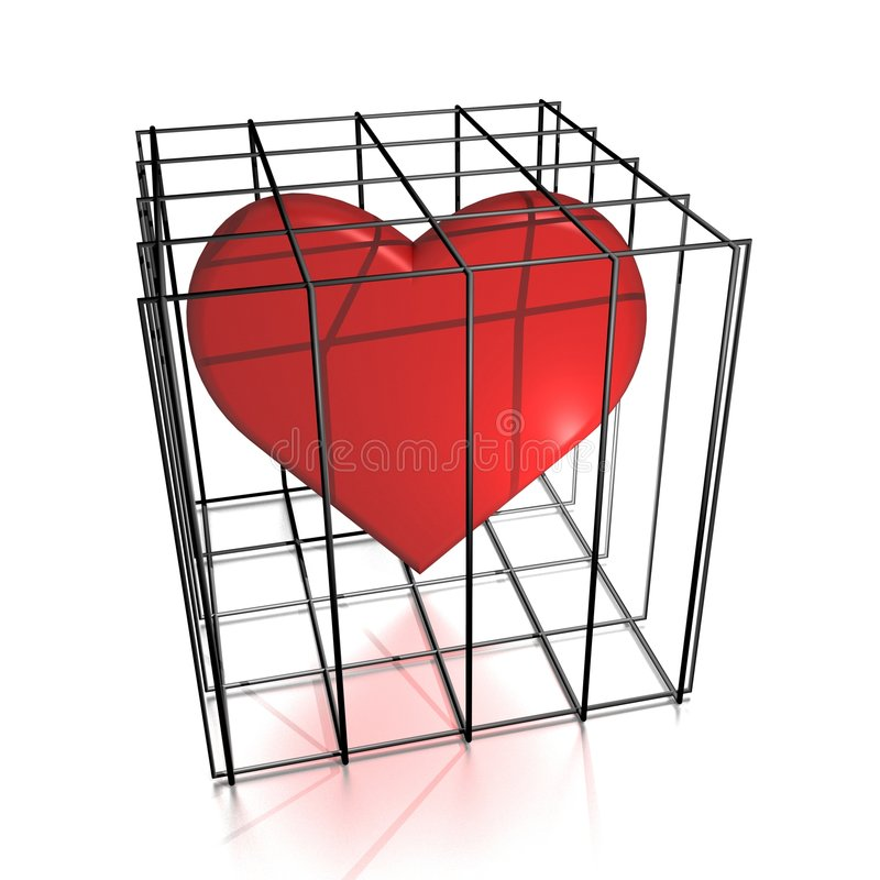 Heart in jail royalty free illustration