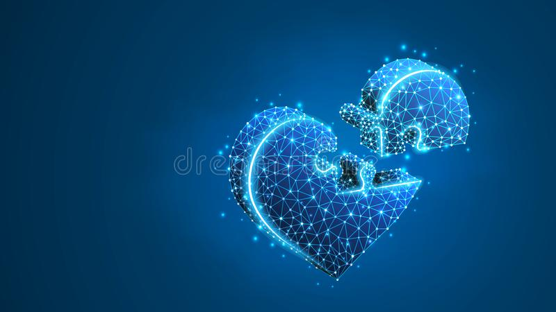 Heart Jigsaw Puzzle. Valentine`s day connecting people hearts, Medicine cardiology health help concept. Abstract stock illustration